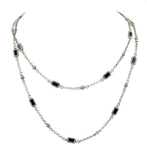 $550.00 Sterling Silver & 18k Onyx and Gold Necklace