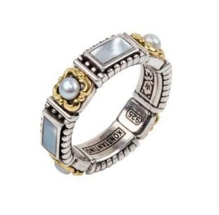 $340.00 Sterling Silver & 18k Gold Mother of Pearl Ring