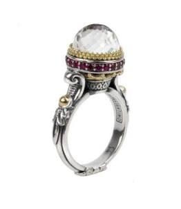 $530.00 Sterling Silver & 18K Gold Crystal and Corundum Ring