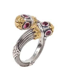 $585.00 Sterling Silver & 18k Gold Rhodolite By-Pass Ring