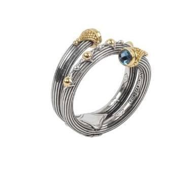$460.00 Sterling Silver & 18k Gold Blue Topaz Ring