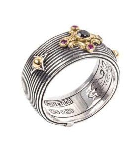 $525.00 Sterling Silver & 18k Gold Blk Dia&RubyRing