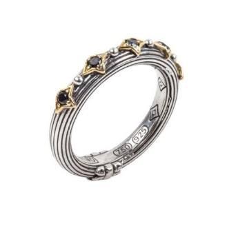$350.00 Sterling Silver & 18k Gold Black Diamond Band Ring