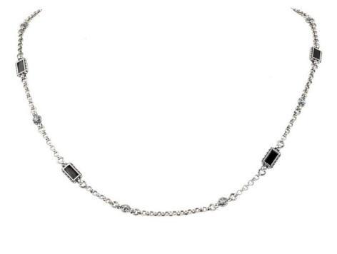 $225.00 Sterling Silver & 18k Onyx Gold Necklace