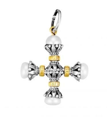 $615.00 Sterling Silver & 18k Gold Pearl Cross