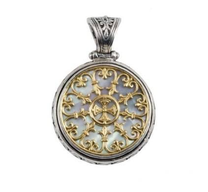 $890.00 SS & 18k Round MOP Pendant with Filigree