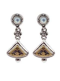 $375.00 Sterling Silver & 18k Gold Drop Earrings