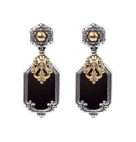 $550.00 Sterling Silver & 18k Gold Onyx Drop Earrings