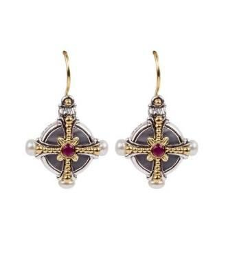 $590.00 SS & 18k Gold MOP, Pearl AND Ruby Earrings