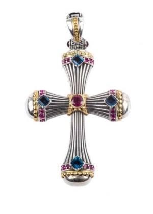 $1,280.00 SS & 18k Gold Rhodolite, London Blue Topaz & Pink Sapphire Cross