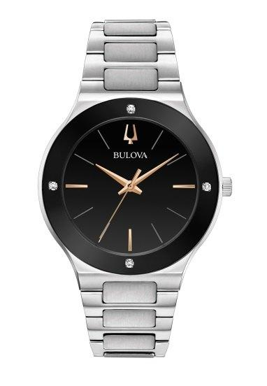 "$296.25 Gts S/S ""Millennia"" Blk Diamond Dial Watch"