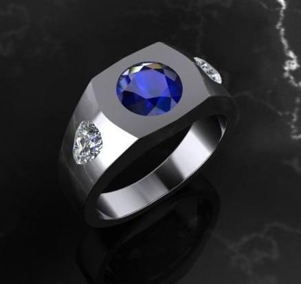 $0.00 gents sapphire & diamond ring custom design