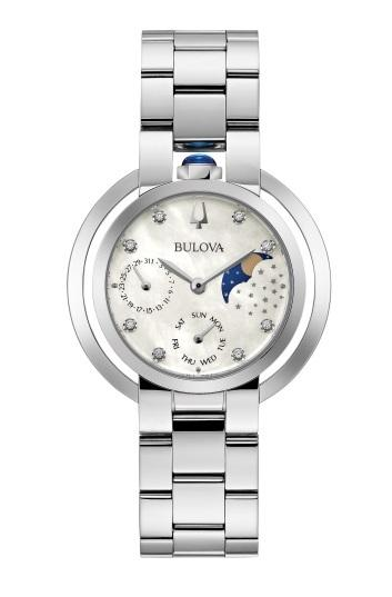 "$487.50 Lds ""Rubaiyat"" Day/Date Moon Phase Diamond Dial Watch"