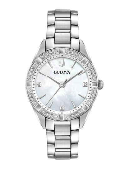 "$412.50 Lds S/S ""Sutton"" MOP Diamond Dial/Bezel Watch"
