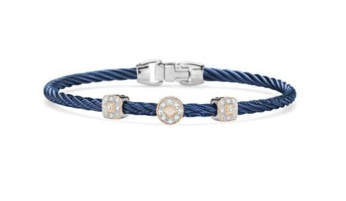 $795.00 BLUEBERRY STACKABLE BRACELET WITH TRIPLE 18K STATIONS