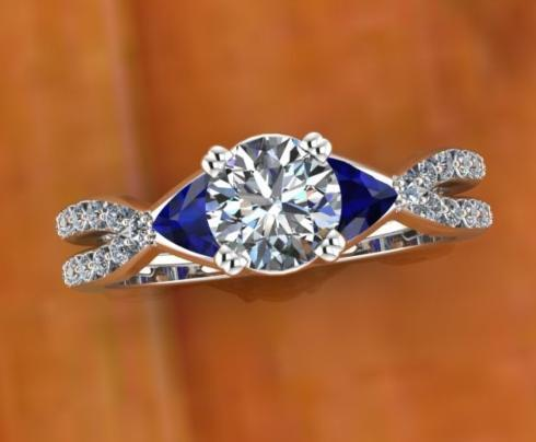 $1,000.00 Round Diamond with Trillion Sapphires