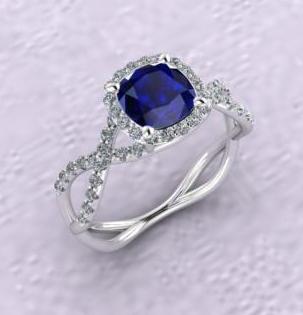 $1.00 Sapphire Halo Infinity Ring