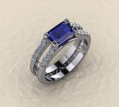 $0.00 Horizontal Emerald Cut Sapphire and Diamond Ring