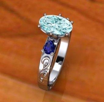 $0.00 Aquamarine and Sapphire Ring