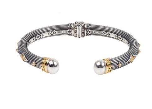 $995.00 Sterling Silver & 18k Gold Hinged Bracelet