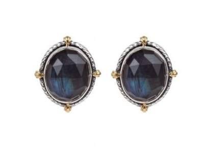 $490.00 Sterling Silver & 18k Gold Spectrolite Earrings