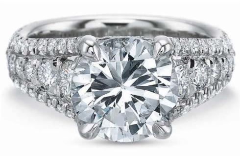 Extraordinary Graduated Diamond Shank Engagement Ring