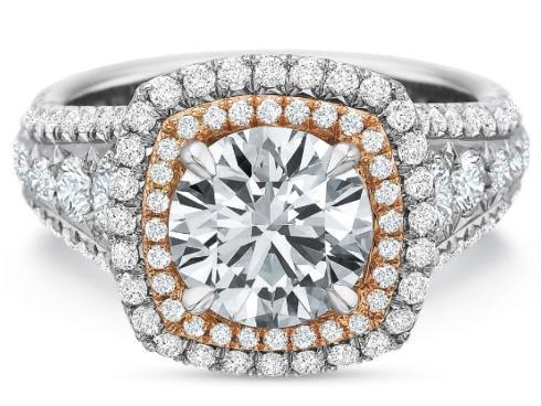 Extraordinary Double Cushion Halo Engagement Ring
