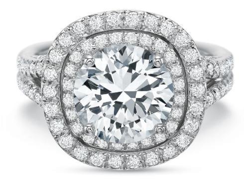 Extraordinary Diamond Pave Double Cushion Halo Engagement Ring