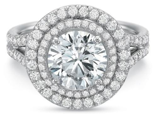 $10,000.00 Extraordinary Double Round Diamond Halo with Split Shank