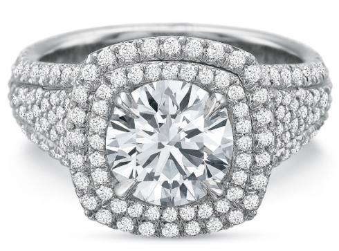 Extraordinary Double Halo Cushion with Diamond Shank Engagement Ring