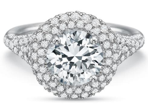 Extraordinary Double Halo Round with Diamond Shank Engagement Ring