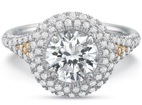 Extraordinary Double Round Halo with Diamond Shank Engagement Ring