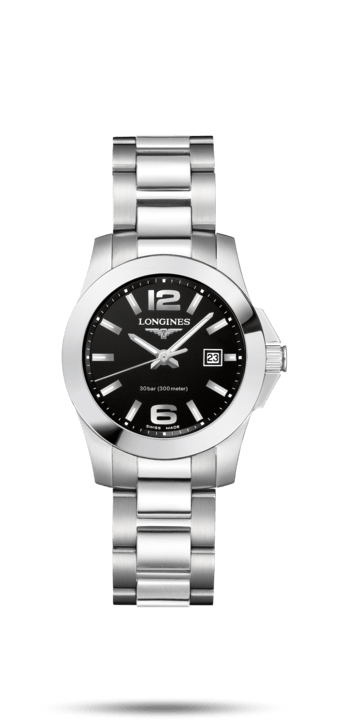 $750.00 CONQUEST 29.5mm Stainless Steel with Black Dial