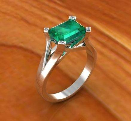 $0.00 Emerald with Diamond Tipped Prongs
