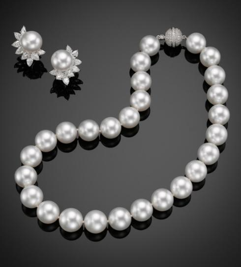 $1.00 Classic 18KW South Sea Pearl Necklace and Earrings