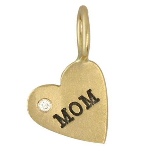 "$211.00 14ky ""Mom"" Heart Charm with Diamond"