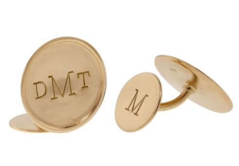 $3,065.00 Yellow Gold Monogram Post Back Cufflinks