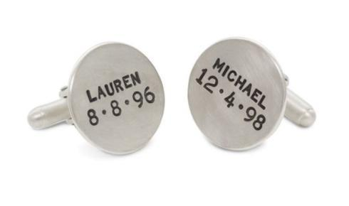 $735.00 Silver Name And Date Cufflinks