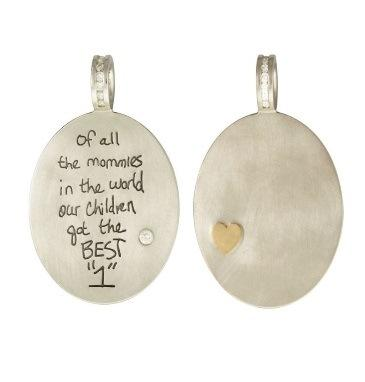 $2,635.00 White Gold Hand Written Message Oval Charm