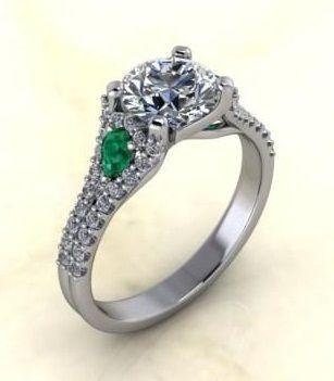 $0.00 Round Diamond with Emerald Accent