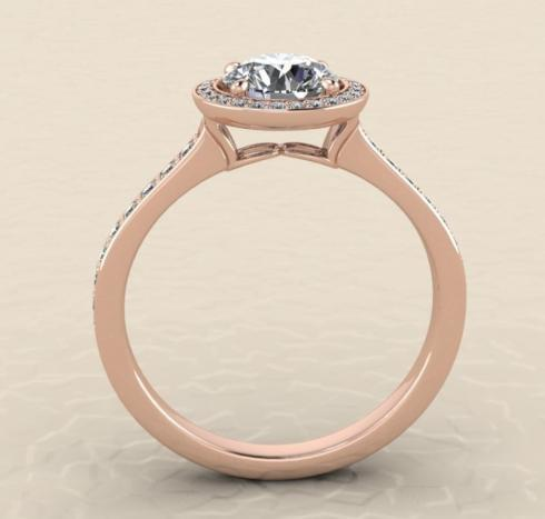 $0.00 Rose Gold Round Halo Ring
