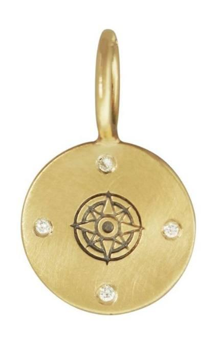 $665.00 Yellow Gold Compass Rose Round Charm