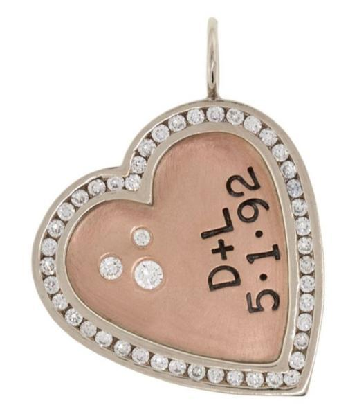 $3,990.00 Double Initial And Date Heart Charm