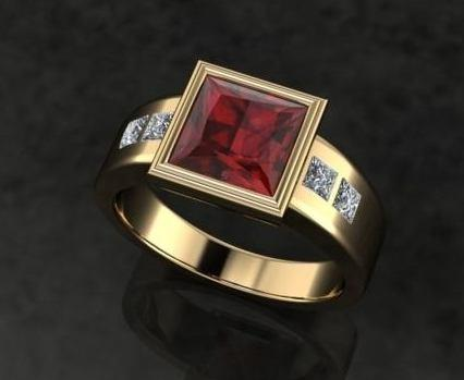 $0.00 gents custom garnet & dia. ring