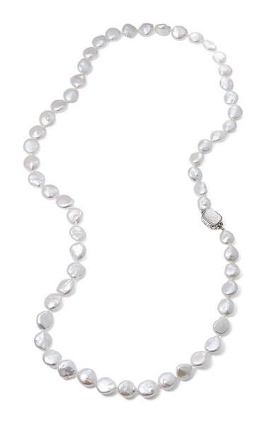 $750.00 Long White Nugget Pearls Necklace, 52""