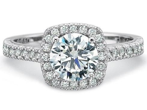 $10,000.00 Petite FlushFit Diamond Cushion Halo Engagment Ring