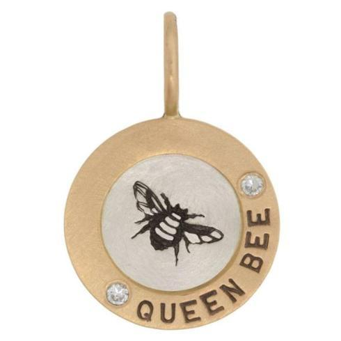 $343.00 14kr and SS Queen Bee Round Charm with Diamonds