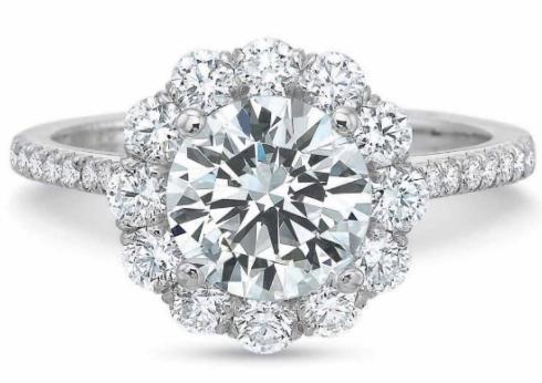 FlushFit™ Round Diamond Halo and Diamond Shank Engagement Ring