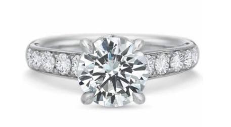 FlushFit™ Tapered Diamond Beadset Engagement Ring