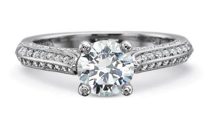 FlushFit Half Round Engagement with Four Sided Diamond Bead Set Shank with Milgrain